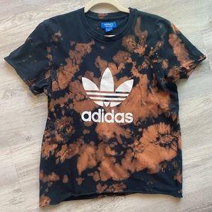 Adidas Black Tshirt with Bleach Tie Dye Detail